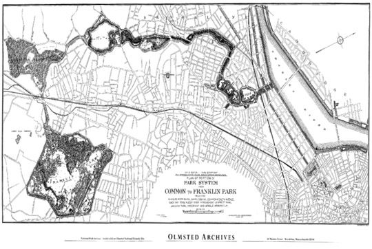Emerald Necklace Boston Usa Olmsted 1895 Boston Mapping