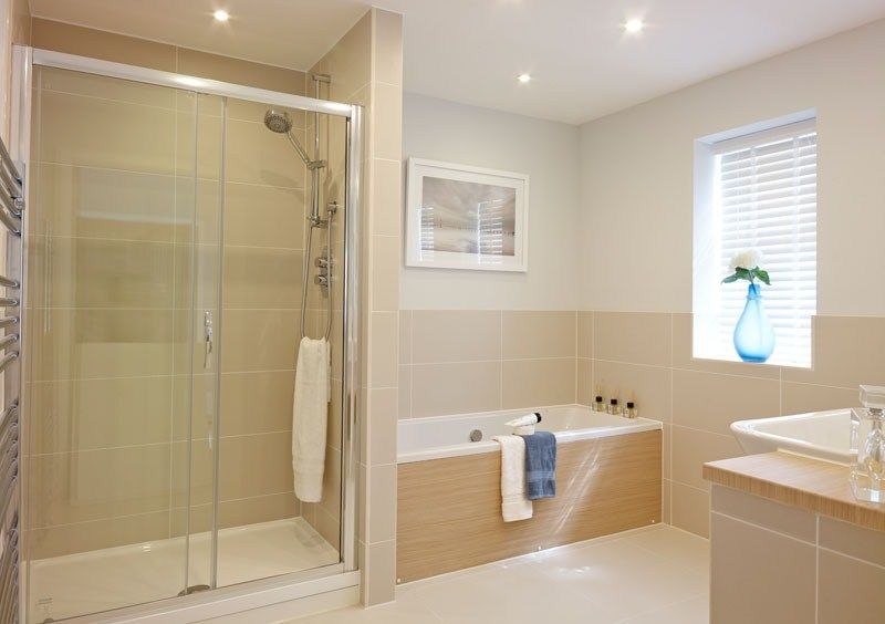 This spacious bathroom at St Irvyne's, West Sussex has been traditionally designed and makes the most of light and space.