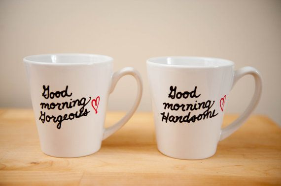 His & Hers Coffee Mugs Good Morning Gorgeous and von Lovetoastshop