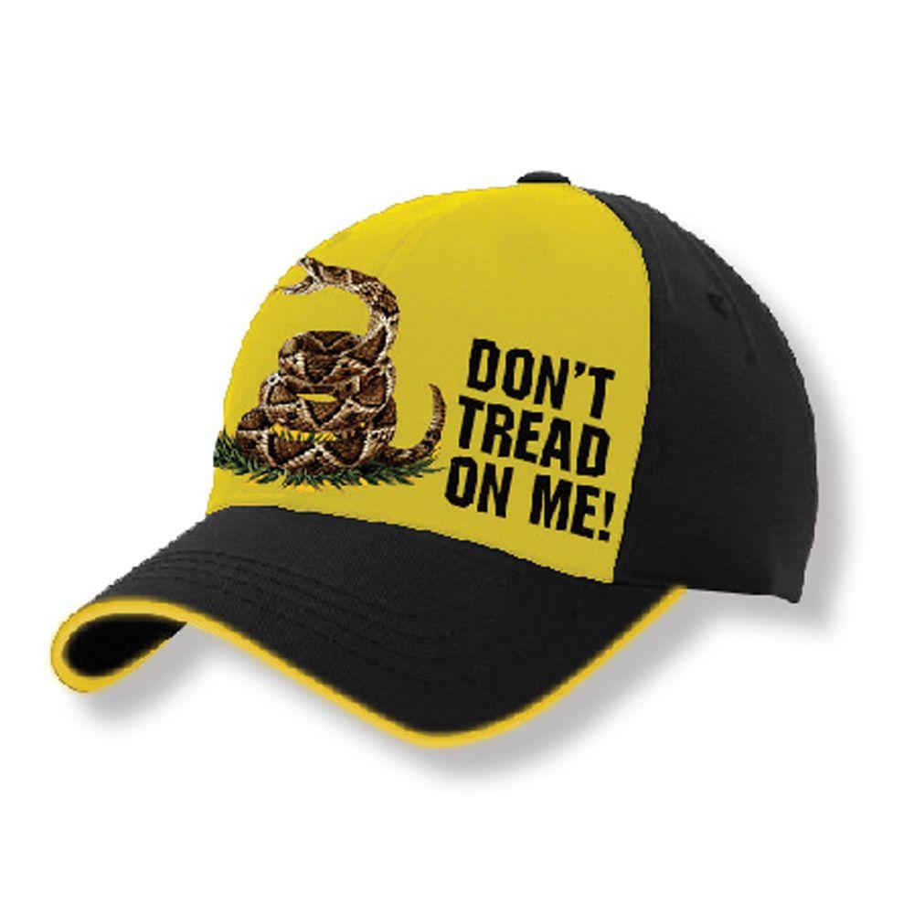 Don/'t Tread On Me Snapback Hat Gadsden Flag US Military Black