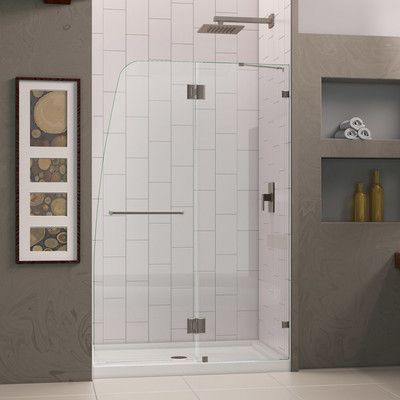 "DreamLine AquaLux 72"" x 46"" Pivot Frameless Hinged Shower Door Trim Finish: Brushed Nickel"