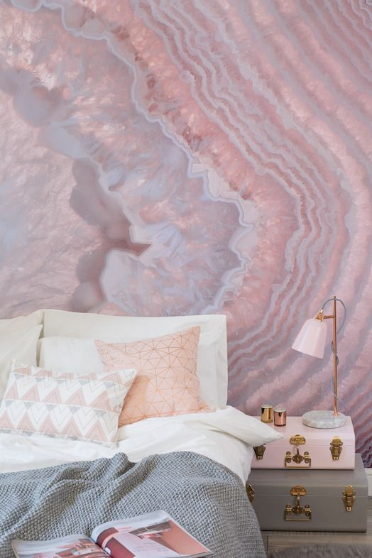 Wall Murals For Bedrooms crystal wall murals | agate geode, pink agate and violets