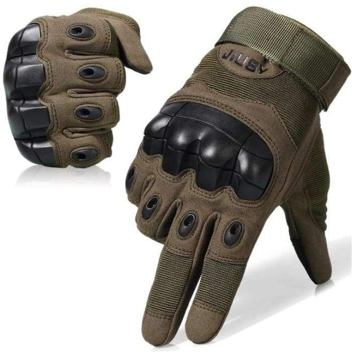 Handschuhe Militärstil ideal für Paintball, Schießen Motorradfahren Anti-Rutsch-Gummi-Hartknuckle-Vollfingerhandschuhe – Grün / China / L