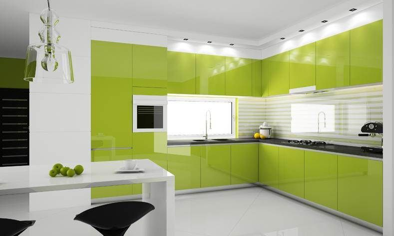 Kitchen: Wonderful Color Decoration Ideas for Kitchen: Magnificent Sleek  Green Kitchen Cabinet With Modern