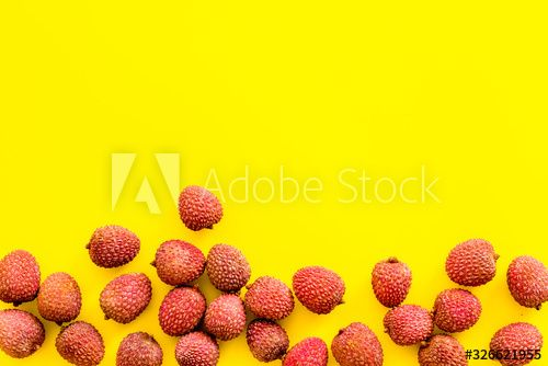 Lychee frame. Fresh juicy fruits on yellow background top-down copy space , #Ad, #juicy, #fruits, #Fresh, #Lychee, #frame #Ad