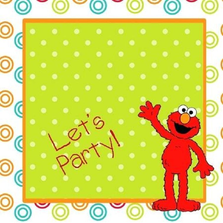 Blank Elmo Birthday Invitations