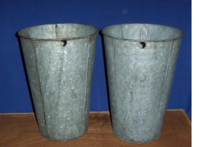 15 VERY NICE Vintage OLD GALVANIZED Maple Syrup Sap Buckets TAPERED