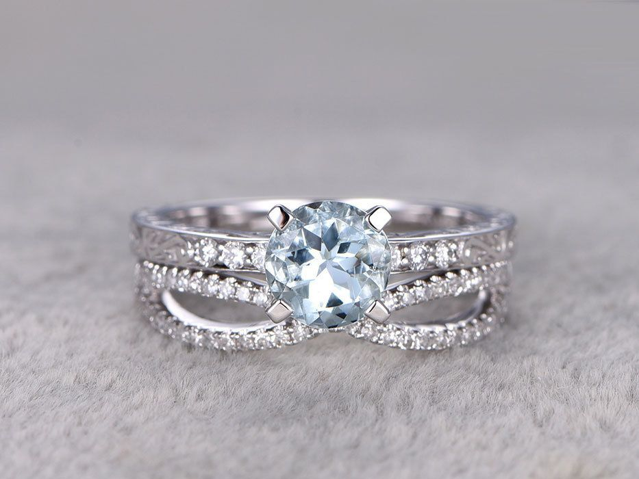 Superbe Aquamarine Bridal Ring Set In BBBGEM,see Our March Birthstone Wedding Set  In Blue With