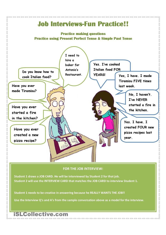 Job Interviews Fun Practice   Ecole
