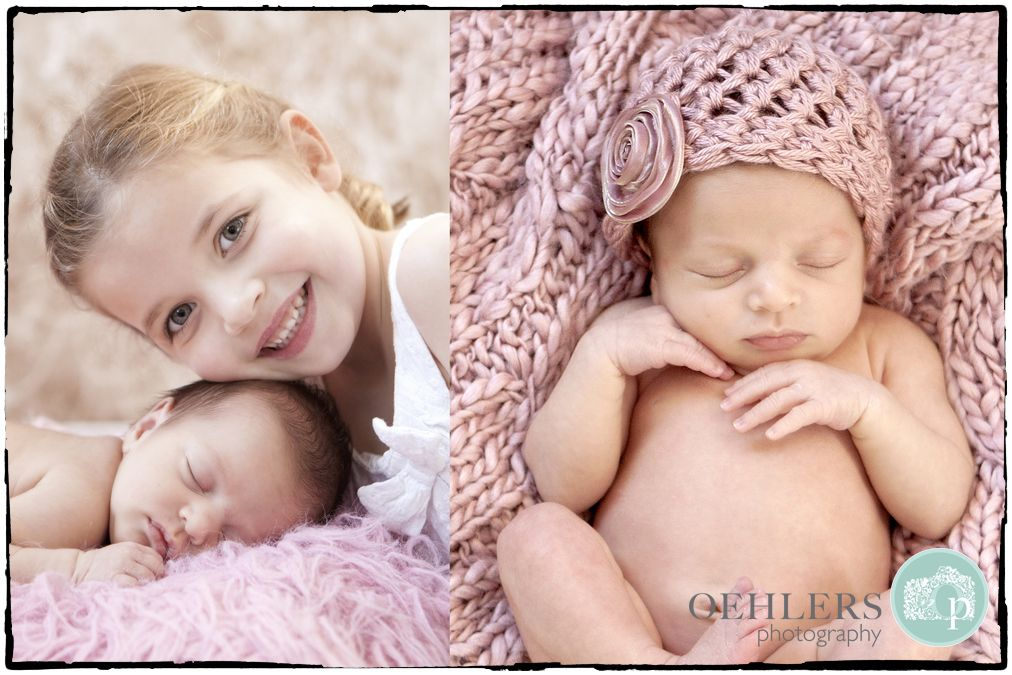 Newborn baby with her sister so cute photography by oehlers
