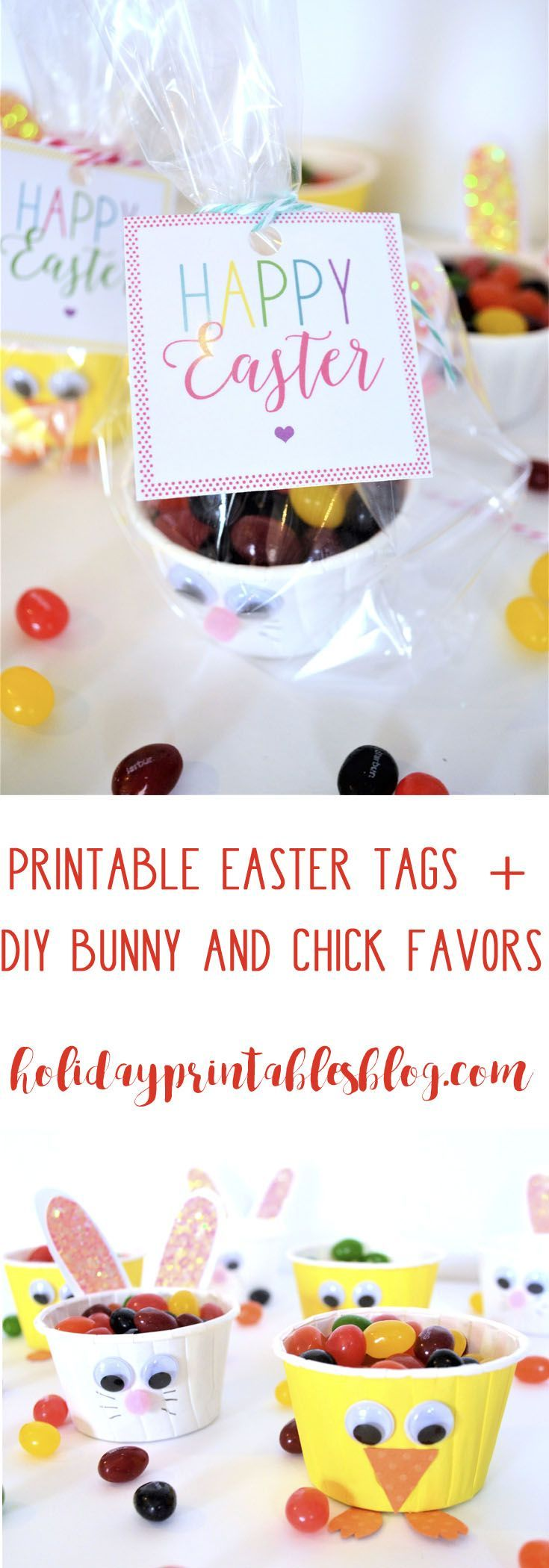 Free printable easter tags diy bunny and chick favors spring free printable happy easter gift tags plus how to make bunny and chick favors the negle Images