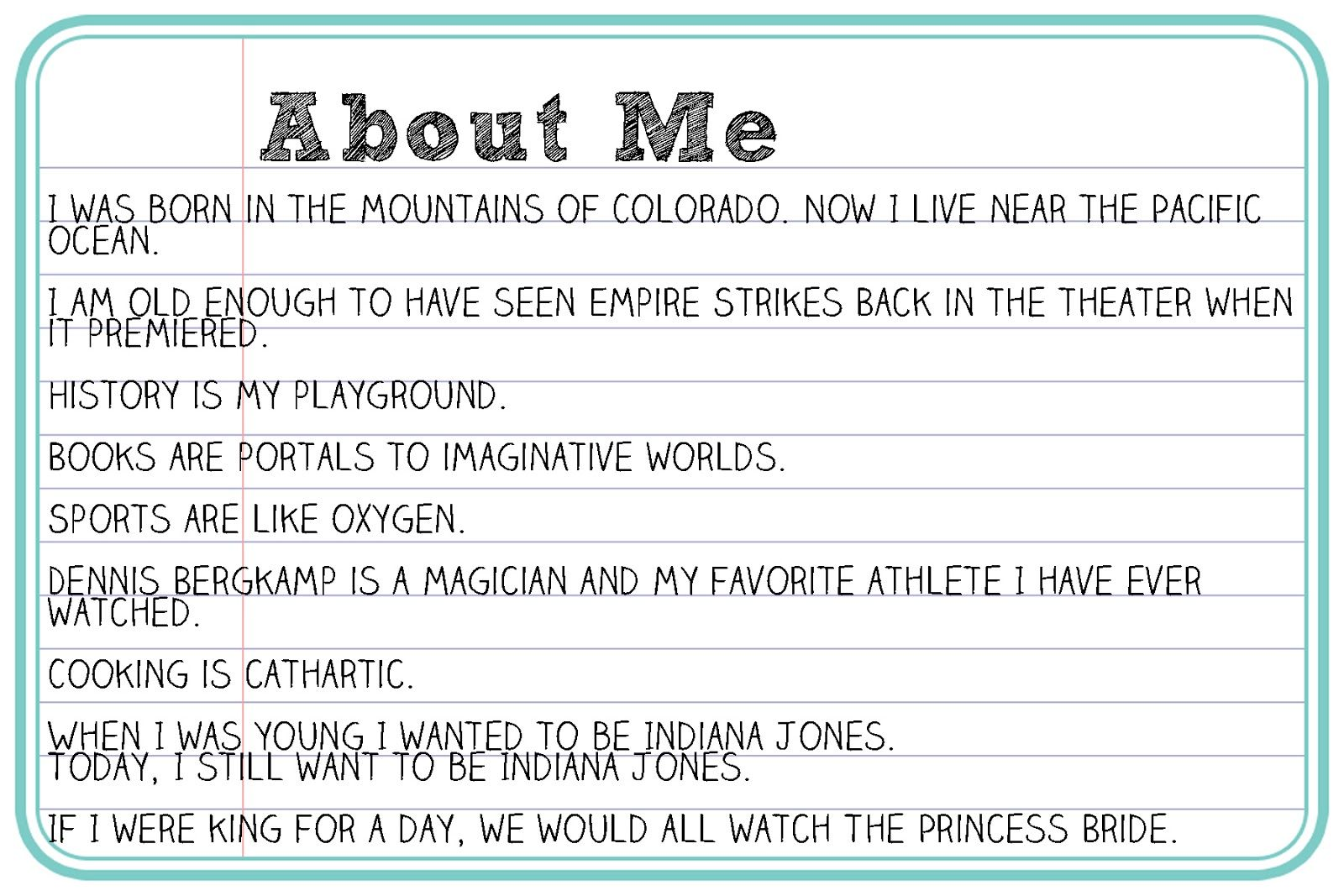 Example write about yourself Creative About