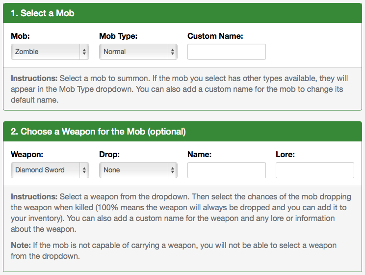 Try out our new Summon Mob Generator for Minecraft | Cheats/Commands