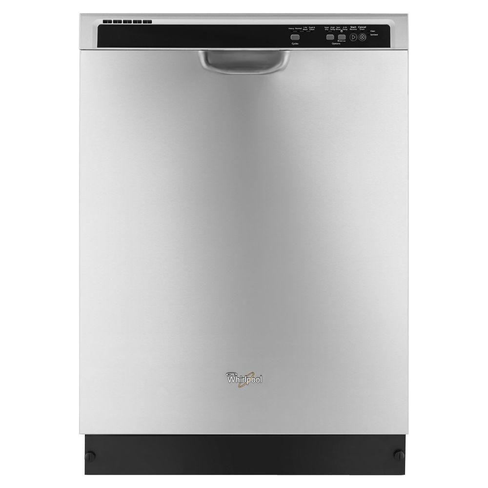 Whirlpool 24 In Monochromatic Stainless Steel Front Control Built In Tall Tub Dishwasher With 1 Hour Wash Cycle 55 Dba Wdf520padm The Home Depot Steel Tub Built In Dishwasher Whirlpool Dishwasher