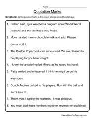 Inverted Commas Worksheet: Commas And Quotation Marks Worksheets   Delibertad,