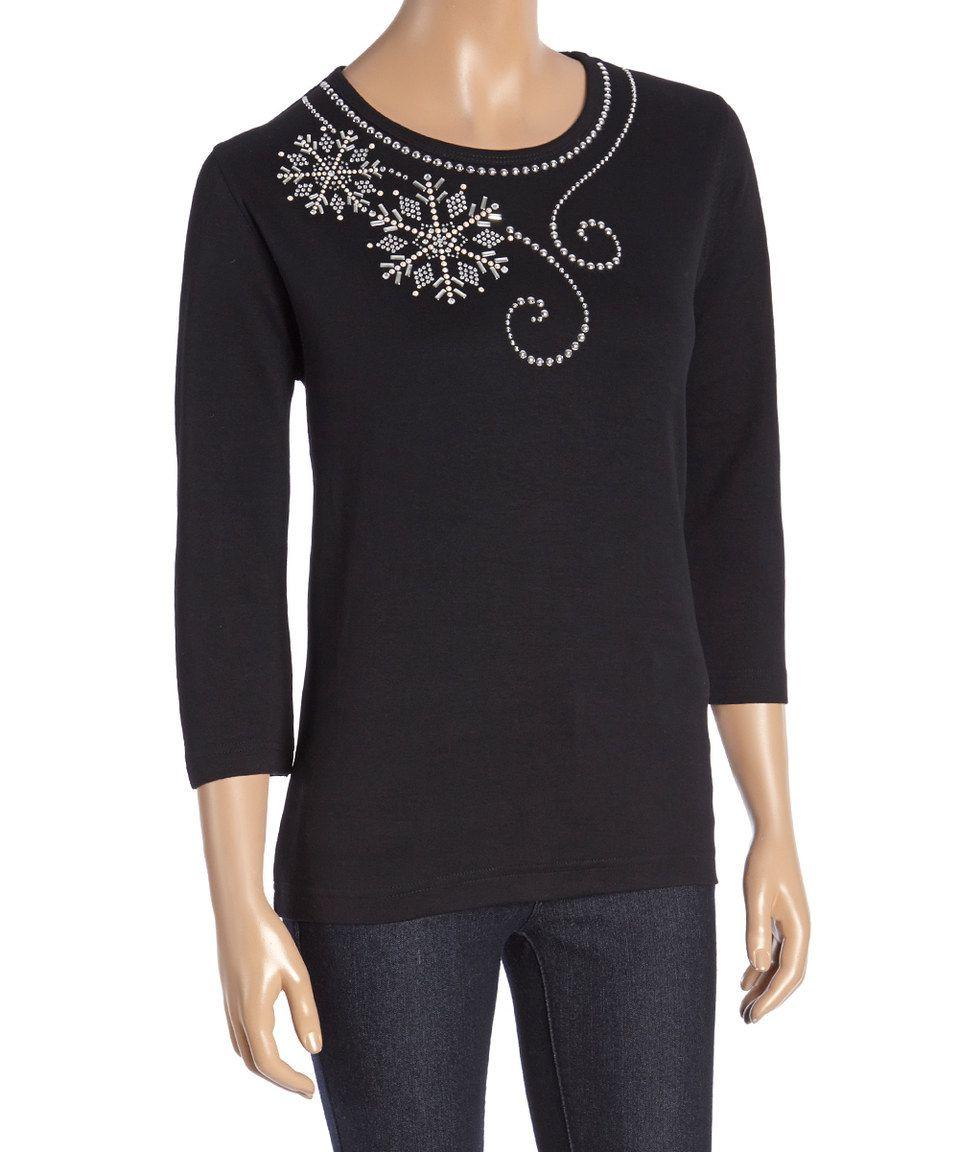 fbe4bacc Tia Designs Black Snowflake Sequin Three-Quarter Sleeve Scoop Neck Tee by  Tia Designs #zulilyfinds
