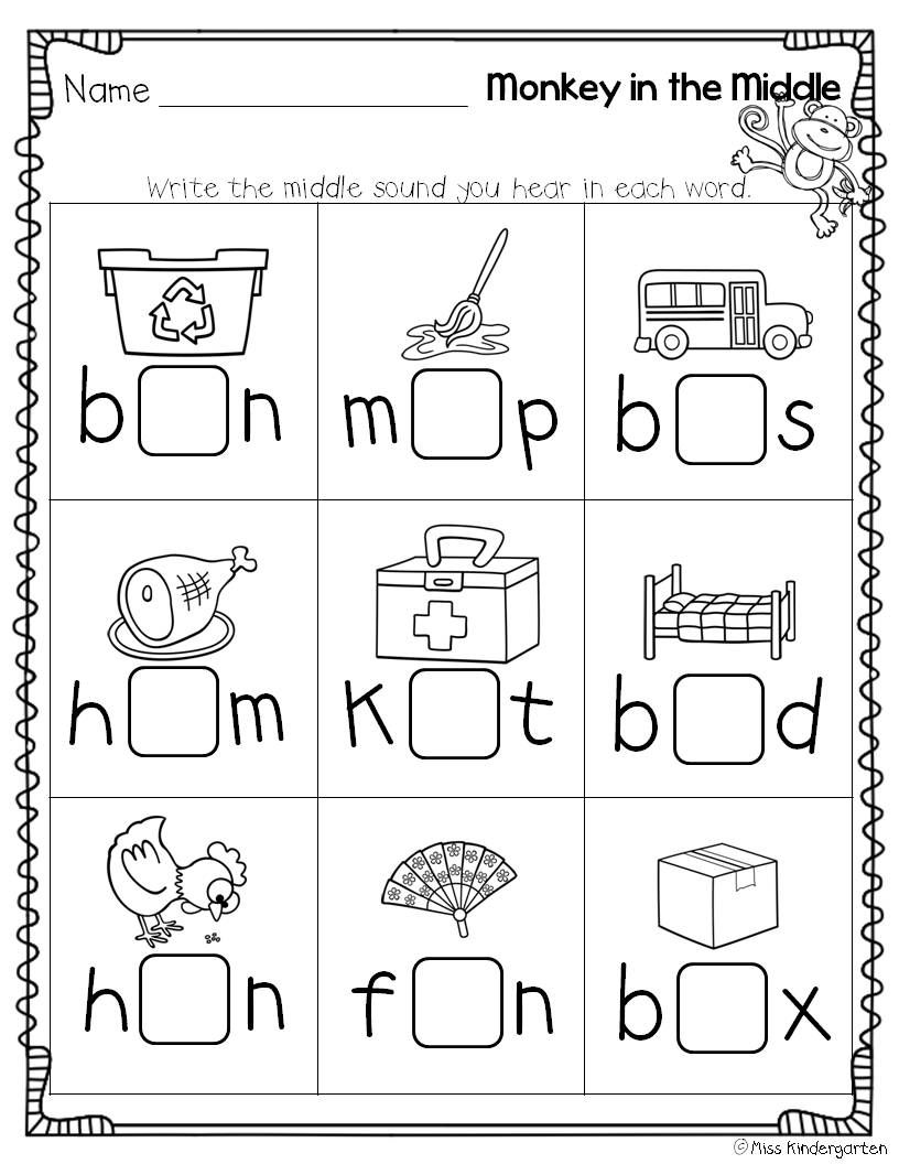worksheet Short Vowel Sound Worksheets super cvc practice monkey middle and pre school in the medial sound practice