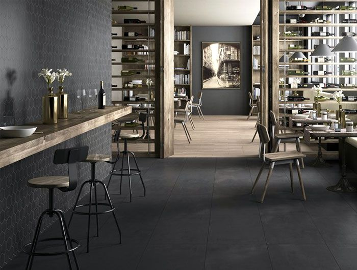 porcelain floor tiles with concrete effect tile relief elements dark grey - Porcelain Tile Restaurant 2015
