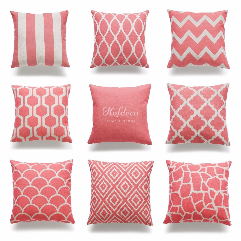 Superior Decorative Throw Pillow Case Coral Pink Geometric Quatrefoil Cotton Linen  HEAVY WEIGHT FABRIC Chair Outdoor Couch