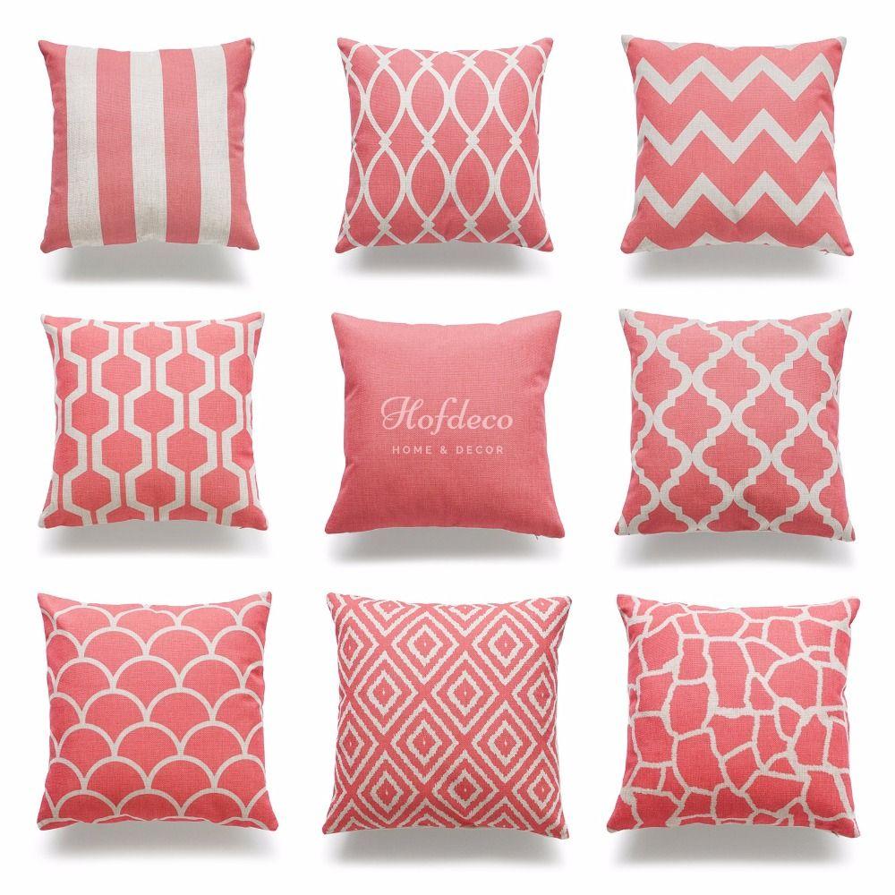 Decorative Throw Pillow Case Coral Pink Geometric Quatrefoil Cotton Linen HEAVY WEIGHT FABRIC ...