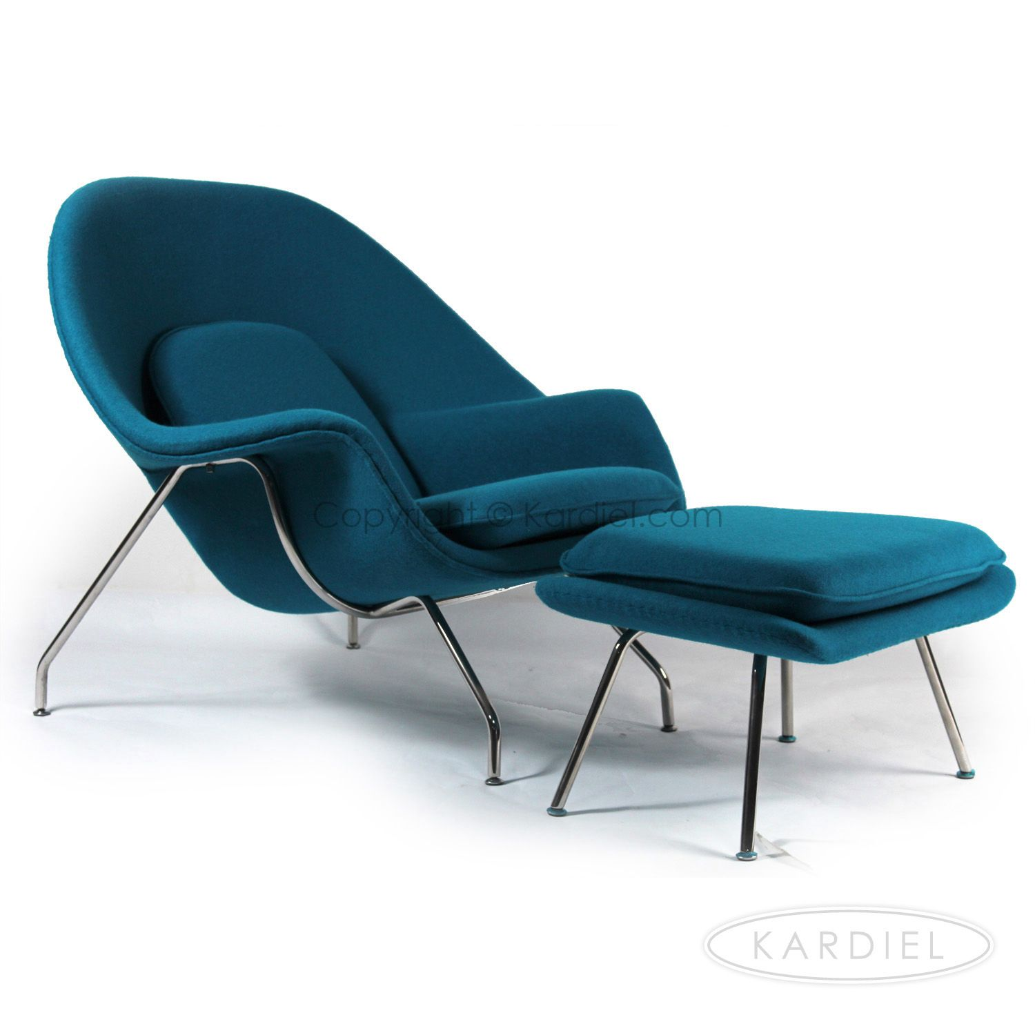 Womb Chair & Ottoman, Caribbean Danish Cashmere Wool |kardiel 799 total