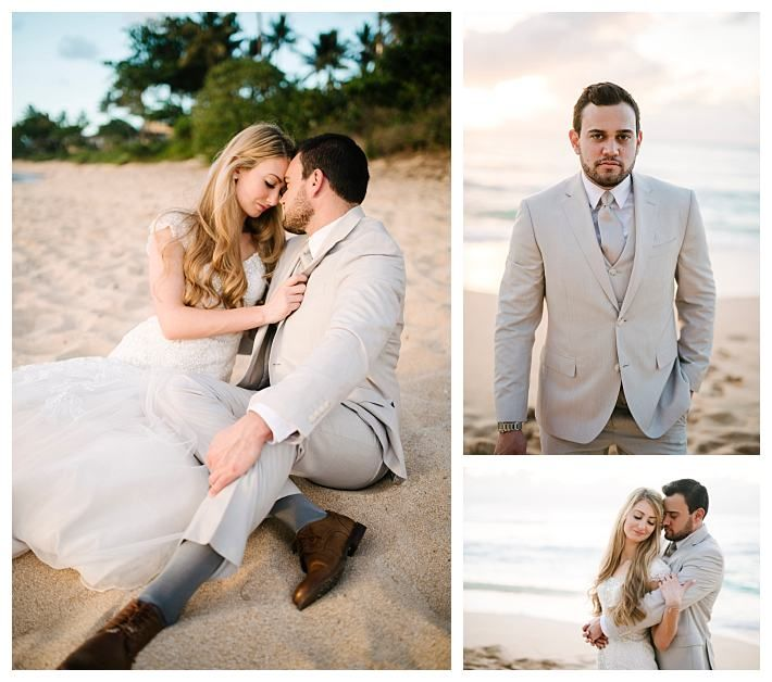Bride And Groom At A Beach Wedding In Hawaii