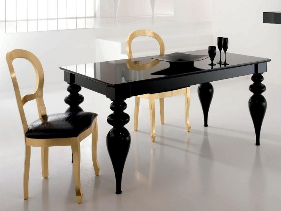 Exceptional Black Or White Lacquer Dining Table Gold Or Silver Leaf Chairs