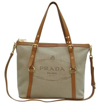 d5ebd5fac0c128 Prada Apricot Canvas Tote Bag replica Light Coffee Leather BR42 ...