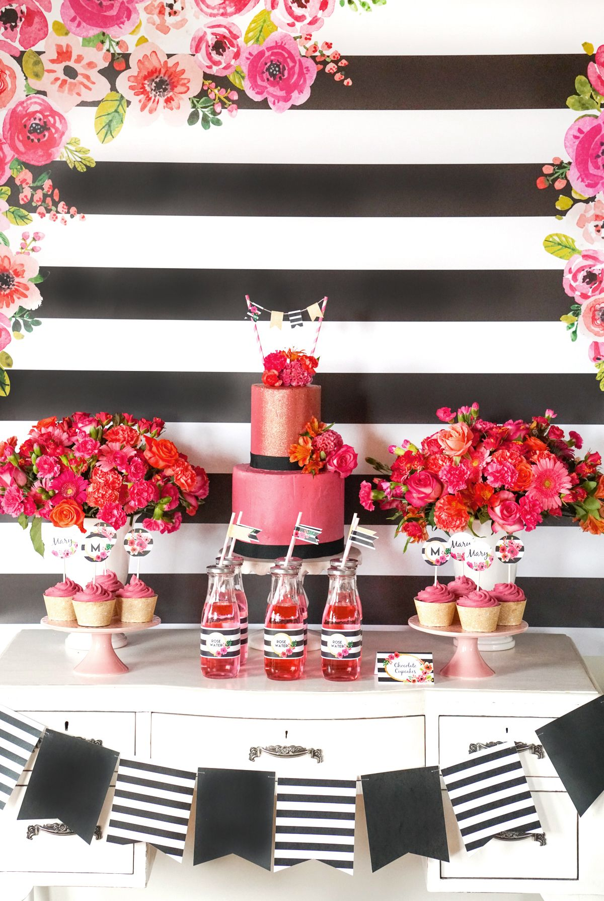 Black and White Striped Floral Party Set Up 30th 40th 50th