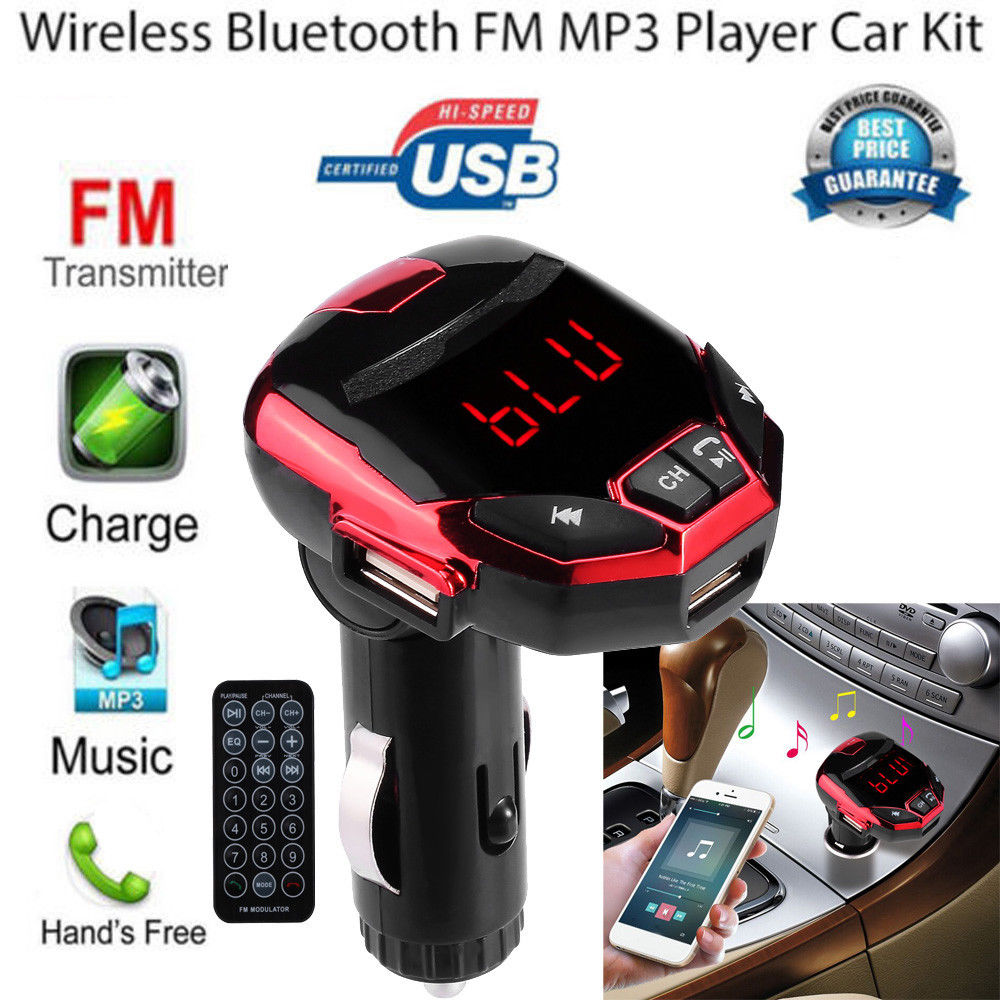LCD Wireless Bluetooth FM Transmitter Modulator USB Car SD MP3 Player w//Remote