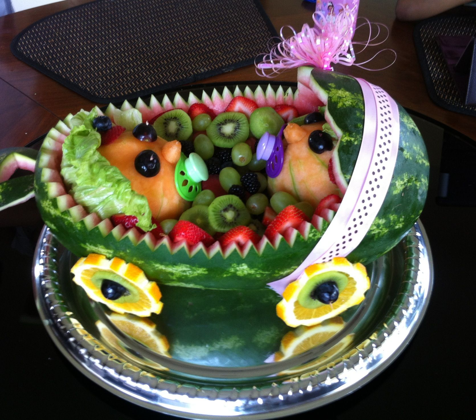 Baby Shower Watermelon Fruit Basket For Twins