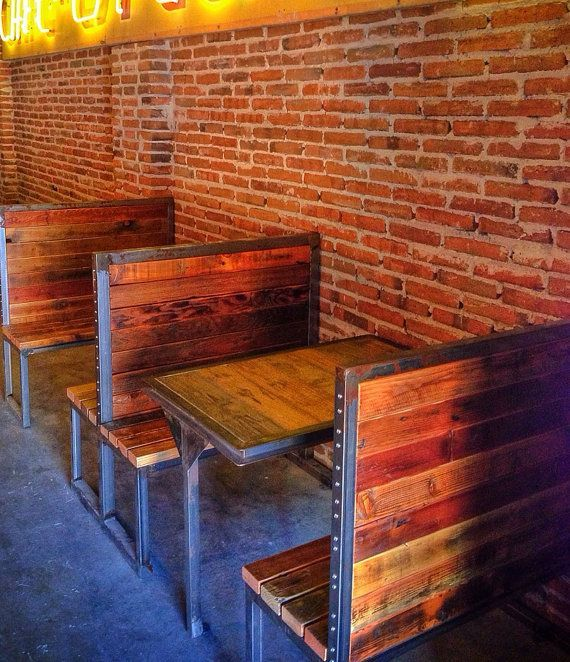 Items Similar To Industrial Metal And Reclaimed Wood Bench Or Booth On Etsy Restaurant Design Restaurant Booth Seating Restaurant Design Rustic
