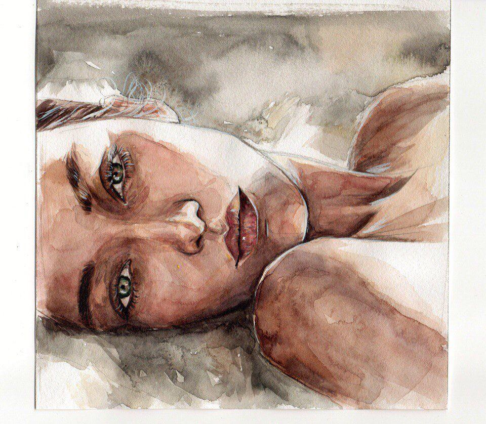 Watercolor By Humid Peach Mouton Dessin Portrait Dessin Art Dessin