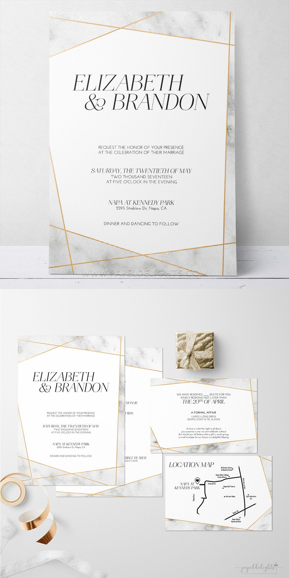 geometric marble wedding invitation | Papeldelights Design Studio ...