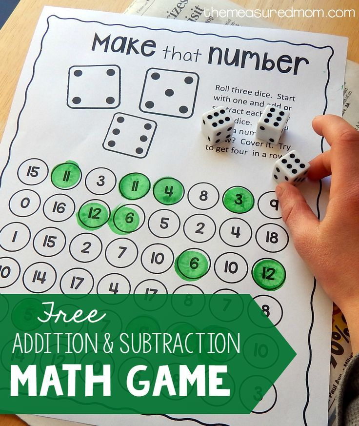 Free addition and subtraction game | Subtraction activities, Math ...