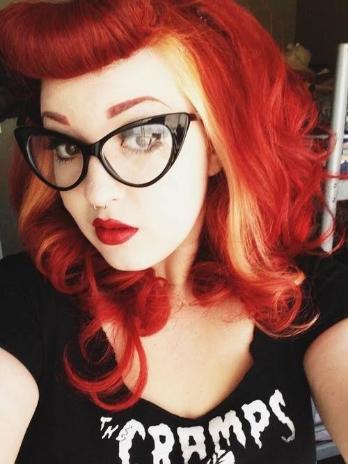 super pretty betty bangs orange hair with blonde streaks