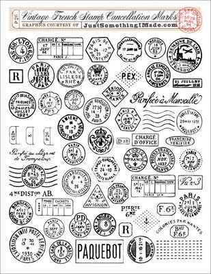 2 SHEETS Vintage Style France Stamp Stickers Cardmaking Scrapbooking Mail Craft