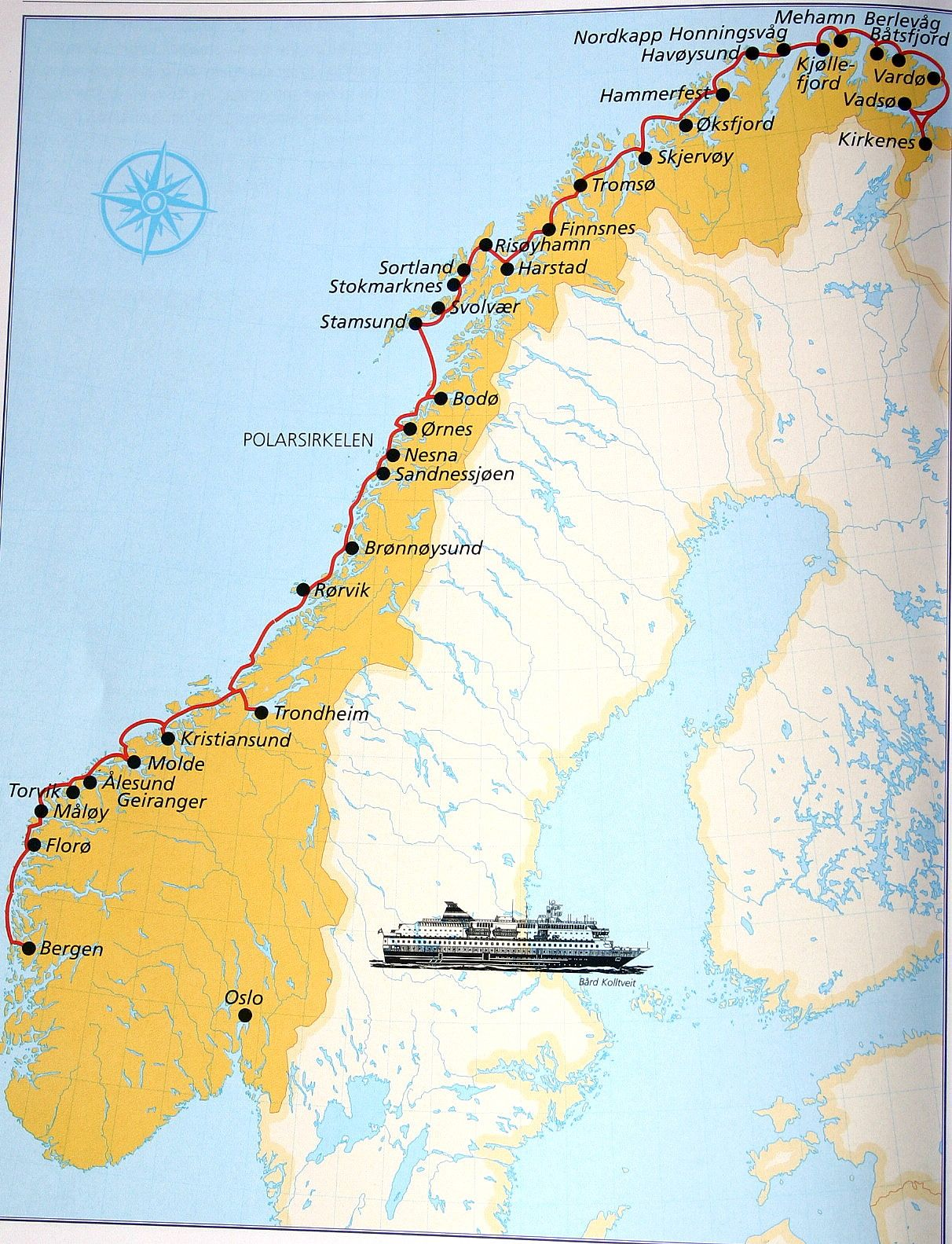 Map of the Norway Coast visited by Hurtigruten ships Nor