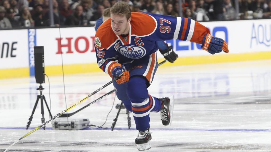 Connor McDavid wins Fastest Skater Oilers center completes course in 13.02 seconds