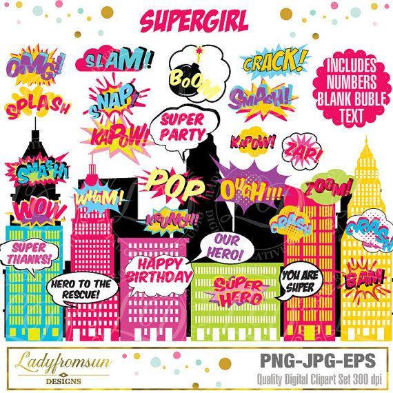 superhero girl clip art action words comic sound effects