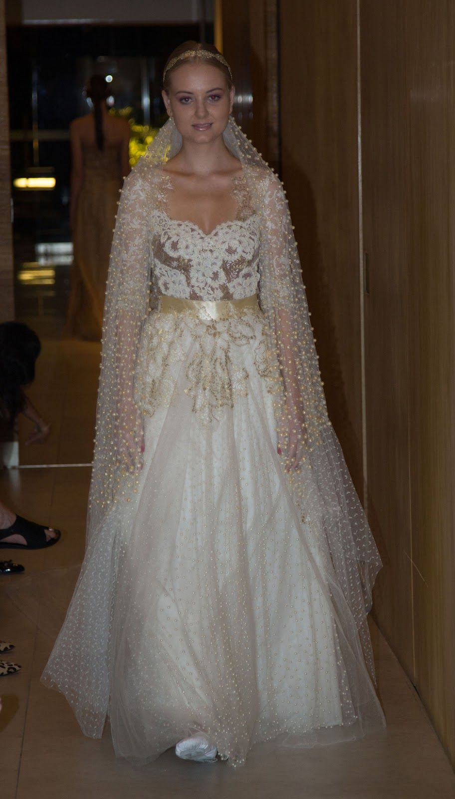 Gold lace pearled veil lethicia bronstein bridal gowns and