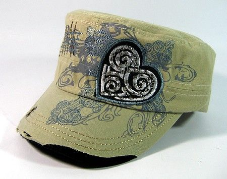 bdcb88c670ad Wholesale rhinestone heart vintage cadet bling military caps hats for women  and girls