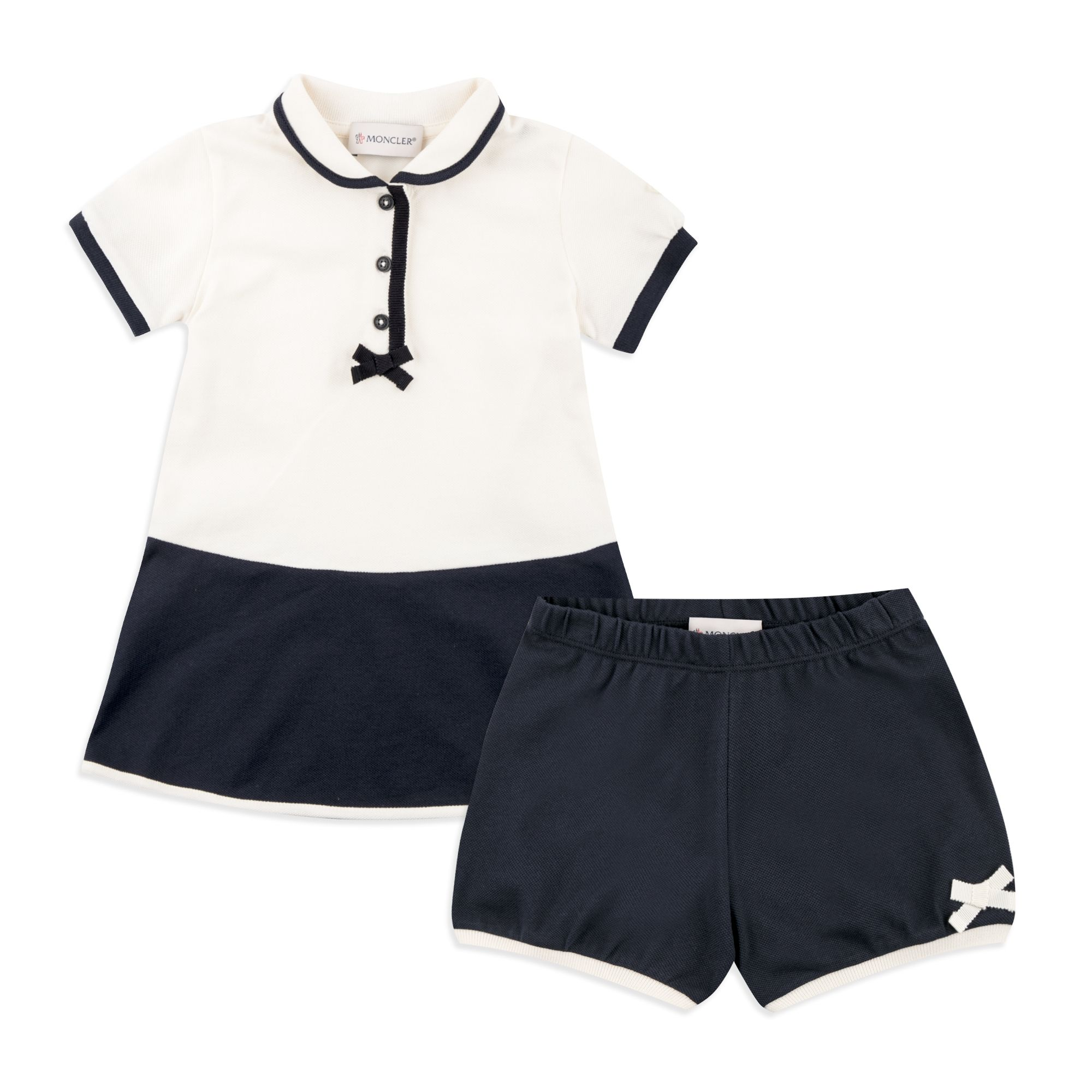 8803b3526008 MONCLER Baby Girls Polo Dress   Shorts Outfit - Cream Navy Baby ...
