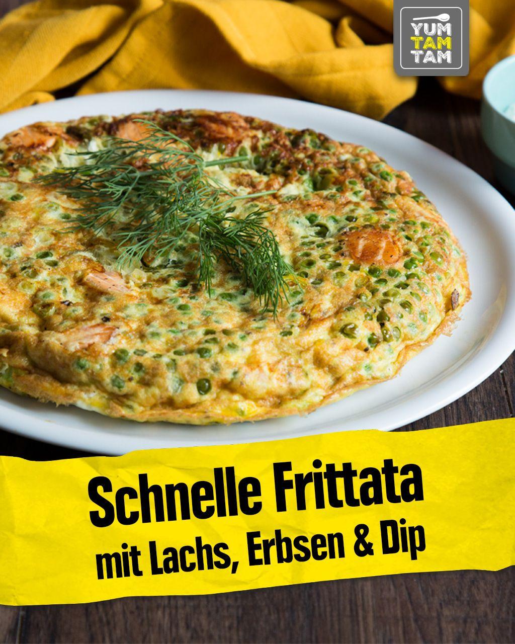 Schnelle Frittata mit Lachs, Erbsen & Dip