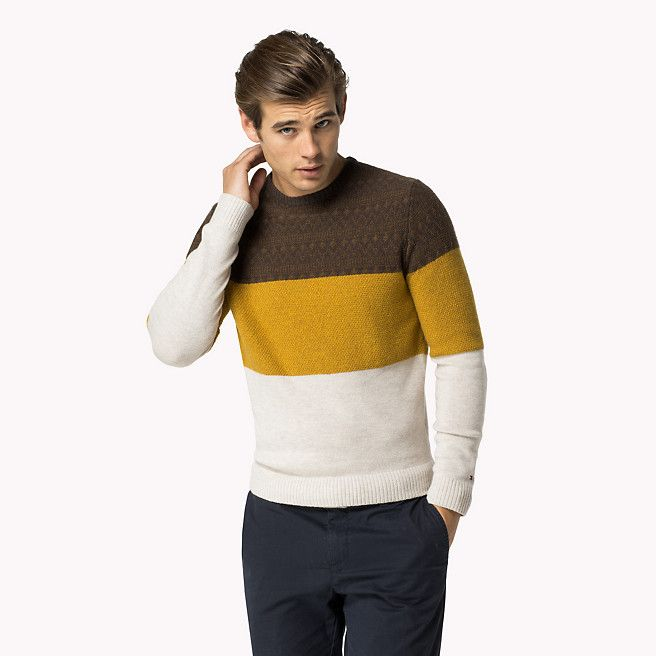 68717833 Tommy Hilfiger Lester Crew-neck Sweater - mulch htr / multi (Brown) - Tommy  Hilfiger Jumpers - main image