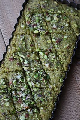 Pistachio Basboussa Recipe by Dinners and Dreams~A Moroccan Recipe Journal