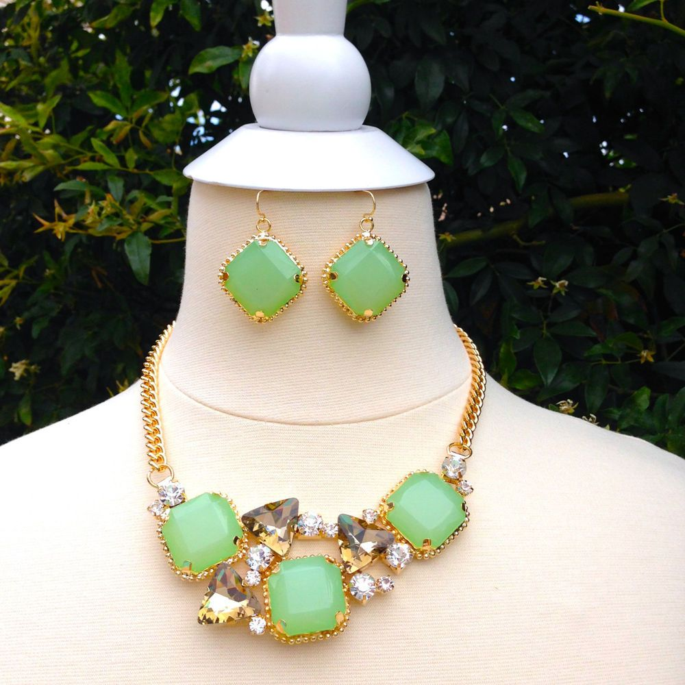 Mint Green Necklace Earrings Set Chunky Statement Necklace Set Gift for Women | eBay