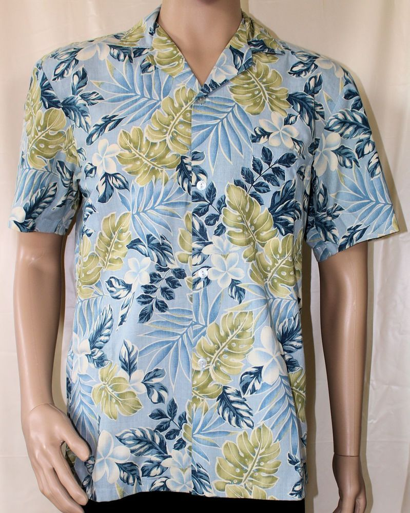 Paradise Style Hawaiian Shirt Light Blue with Blue and Green Leaves Small Aloha #ParadiseStyle #Hawaiian