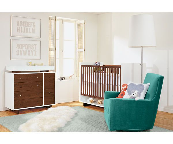 Moda Crib Nursery Kids Room Board We Love The Contrast Of White And Wood Natural Grain Reminds Us Childhood