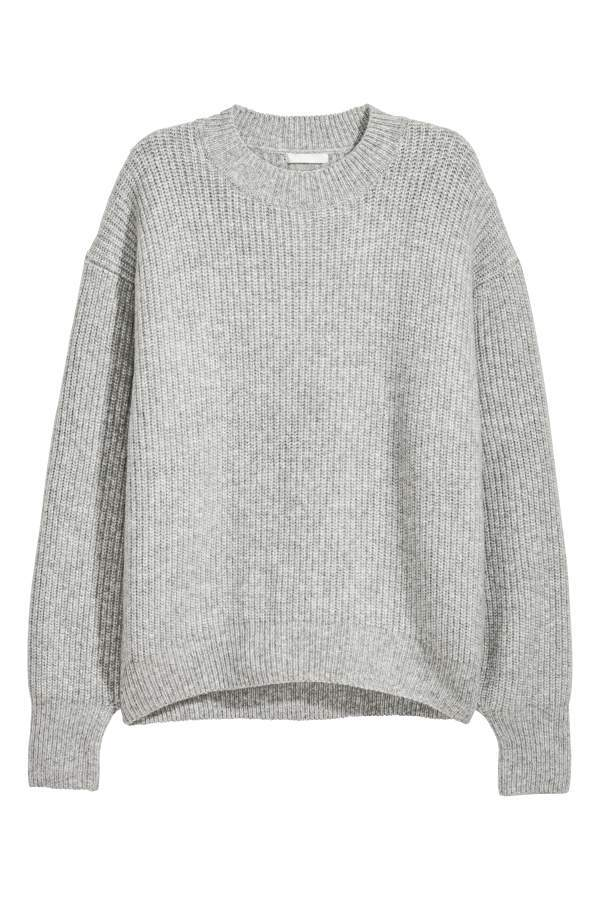 Hm H M Rib Knit Sweater Gray Women Products